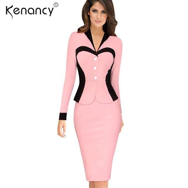 Kenancy Faux Twinset Optical Illusion Colorblock Ufficio del Vestito Delle  Donne Sexy Scollo A V Manica Lunga 2f2bf310beb