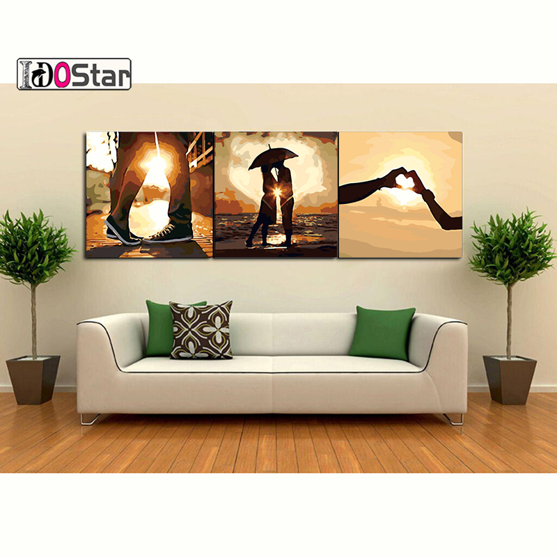 3pcs/set 50x50 DIY Oil Painting by Numbers with lovers Triptych Pictures Coloring Landscape Paint Wall Sticker Home Decor Gift