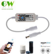 Magic Home DC5 28V Wireless Mini WIFI Dimmable Controllerเดี่ยวLEDสีคอนโทรลเลอร์สำหรับ 2835 5050 5630 5730 LED Strip LIGHT