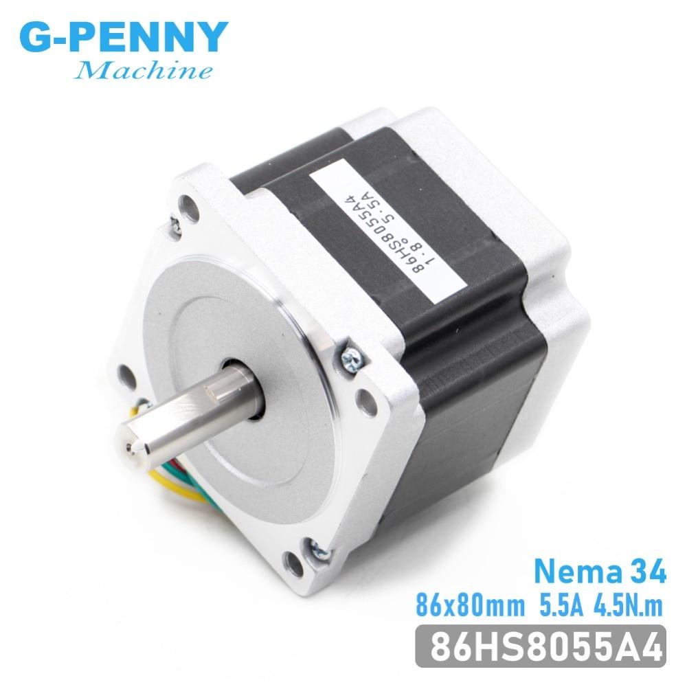 NEMA 34 CNC schrittmotor 86x80mm 4.5N.m 5.5A D = 14mm Nema34 stepping motor L = 80mm 640Oz-in für CNC gravur maschine 3D drucker!