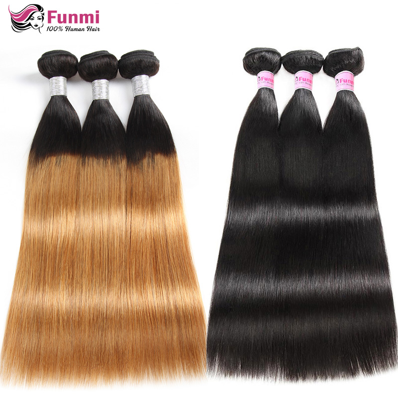 Ombre Brazilian Straight Hair Weave Bundles T1B 27 Virgin Hair Bundles Honey Blonde Funmi Virgin Human Hair Extensions 1/3/4pcs