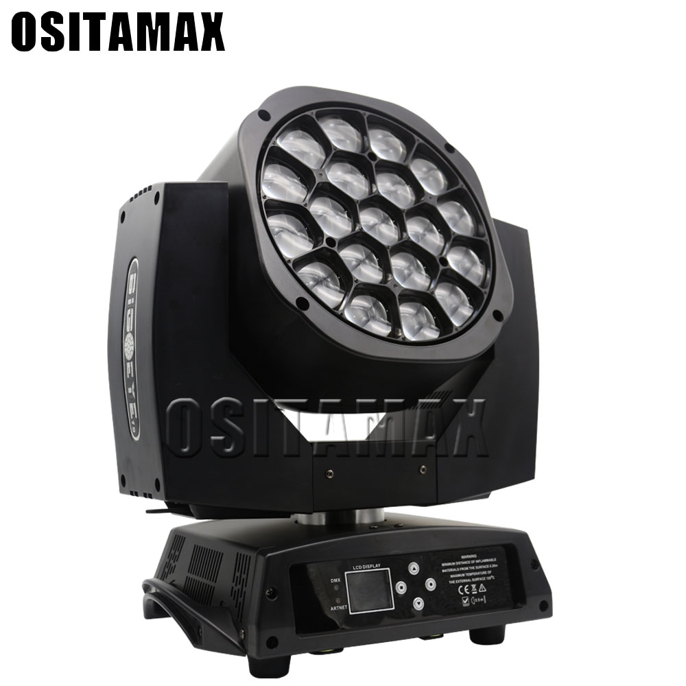 6pcs free shipping Big Bee Eye LED Stage Moving Head Light 19x15w 4IN1 RGBW Rotating Disco Light Moving Head Zoom LED Lights