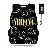 Smile Nivana Band Boys Multifunction Laptop Backpack Rock Band USB Charging School Bags for Women Men Fans Travel Girls Bag