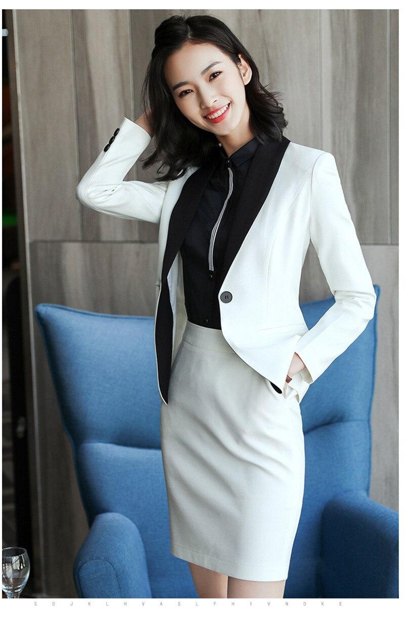 7ce795fb0ac1e Compre Novedad Blazer Blanco Trajes Con Falda Y Chaquetas Conjuntos ...