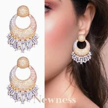 Newness 42mm Luxury Geometry Round AAA+ Cubic Zircon Earrings 3Tone Women Party Engagement Earring Fashion Jewelry