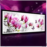 5D Flower Magnolia Blossoming Butterfly Diamond Painting Full Rhinestone Cross Stitch Diamond Embroidery