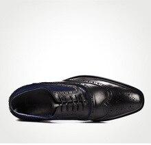 QYFCIOUFU Luxury Designer Formal Men's Wedding Shoes Genuine Leather Fashion Black Khaki Pointed Toe Retro Brogue Dress Shoe
