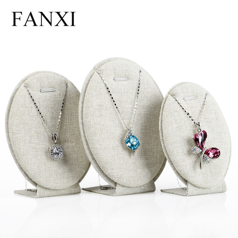 Fanxi 3pcs/set Elegant Oval Shape Jewelry Display Stand Set Beige Linen Necklace Pendant Showcase Shelf Set Shop Exhibitor