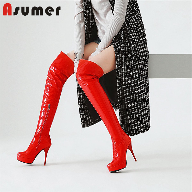 ASUMER plus size 34-47 over the knee boots women platform boots high heels shoes woman elegant prom autumn winter boots  ASUMER plus size 34-47 over the knee boots women platform boots high heels shoes woman elegant prom autumn winter boots