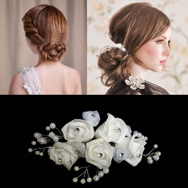 Aliexpress buy 12pcs bridal wedding crystal white flower hair 12pcs bridal wedding crystal white flower hair pins and clips pearl stick girls bridesmaid barrettes for mightylinksfo