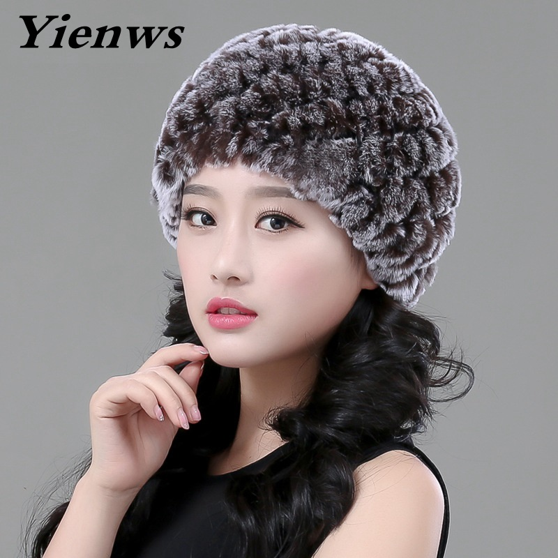 Yienws Natural Rabbit Fur Hat Women Winter Hats Girls Knitted Wool Rabbit Caps Female Headgear Pompon Beanies Lady Cap YIC548 top luxury brand business watches men stainless steel quartz watch mens sports watch chronograph clock male relogio masculino