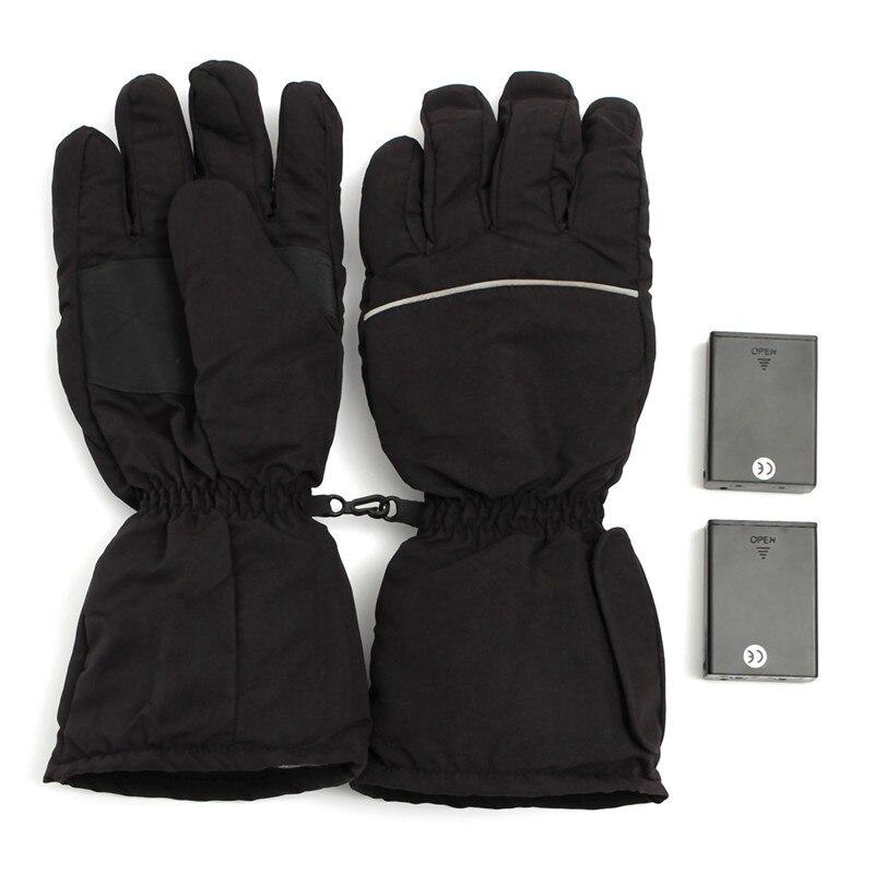 Prix pour Nouveau élégant noir chauffage électrique gants batterie propulsé pour moto extérieure chasse hiver main des gants chauds
