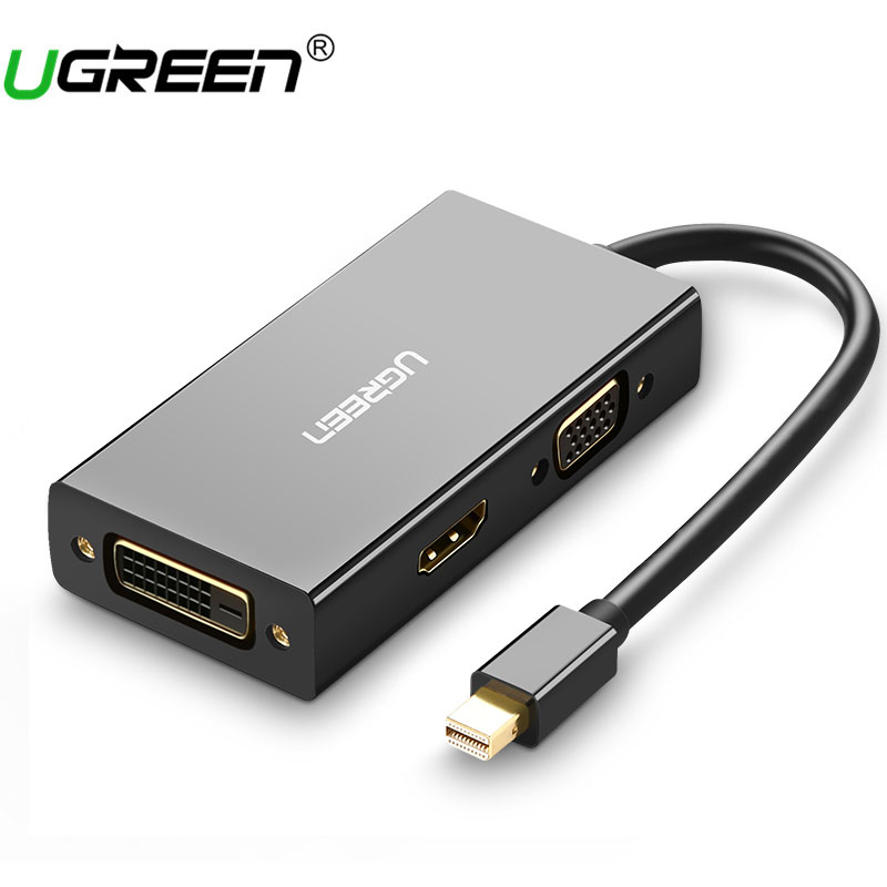 Ugreen Thunderbolt Mini Displayport DP to HDMI VGA DVI Adapter Converter Cable For Apple MacBook Air Pro Mini DP to HDMI VGA DVI pro 3 in1 thunderbolt display port mini dp to dvi vga hdmi adapter converter cable for macbook pro air high quality