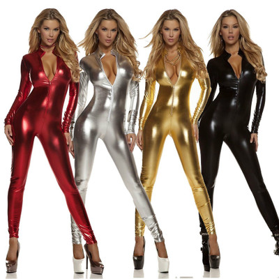 Black Widow costumes <font><b>Sexy</b></font> Shiny Cat Suit Women Silver Metallic Unitard Tight Suit <font><b>Lycra</b></font> Bodysuit Zipper Long Sleeve <font><b>Catsuits</b></font> image