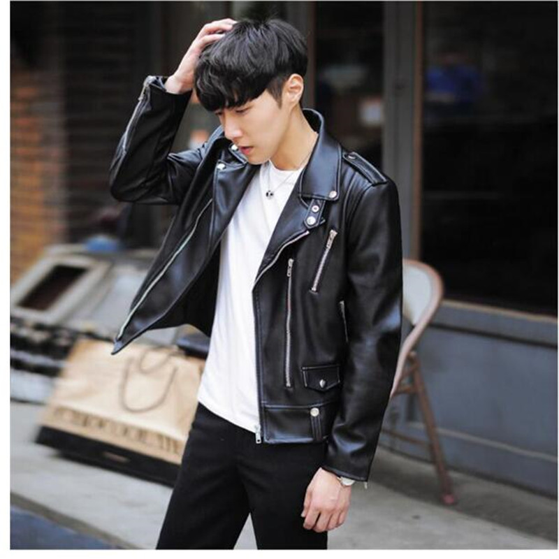 New Fashion PU Leather Jacket Men Black Solid Mens Coats Trend Slim Fit Youth Motorcycle Jacket