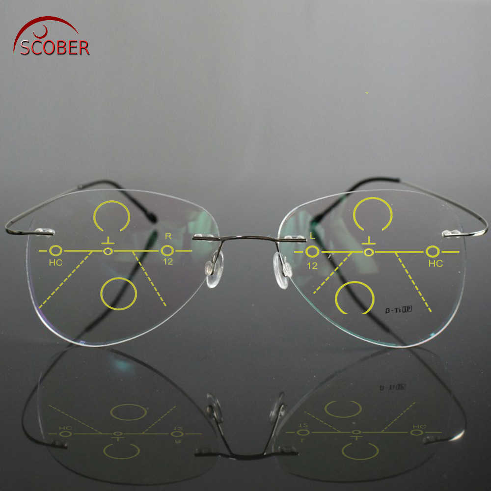 SCOBER = Large Frame Pilot B Titanium Ultra-light Progressive multifocus Rimless READING GLASSES add +1 +1.5 +2 +2.5 +3 +3.5 +4