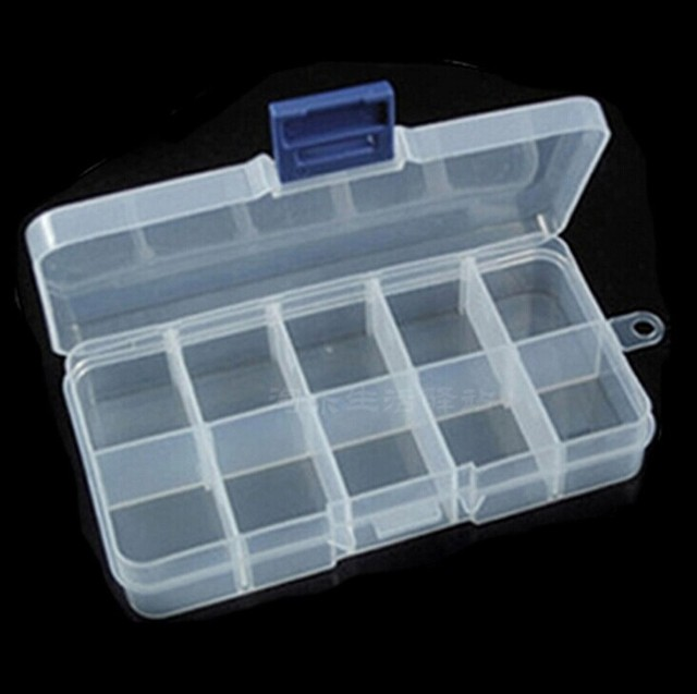 10 grid transparent plastic storage jewelry finishing storage small
