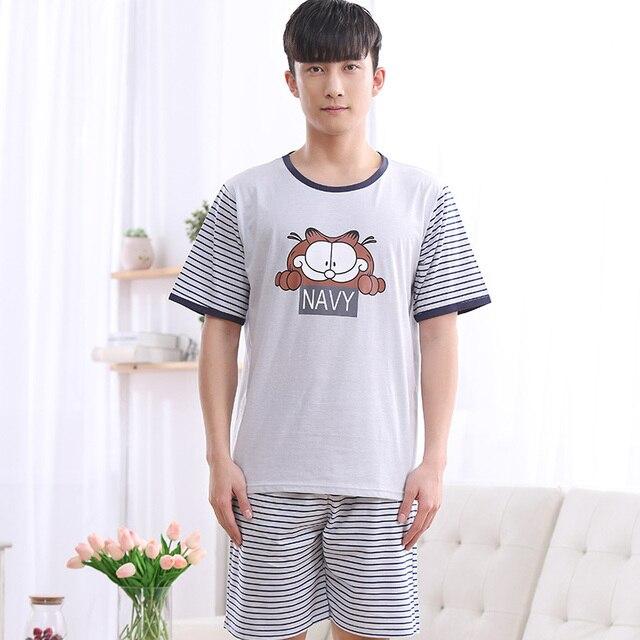 1088 Summer style Navy stripe cartoon cat pattern Men's Home wear