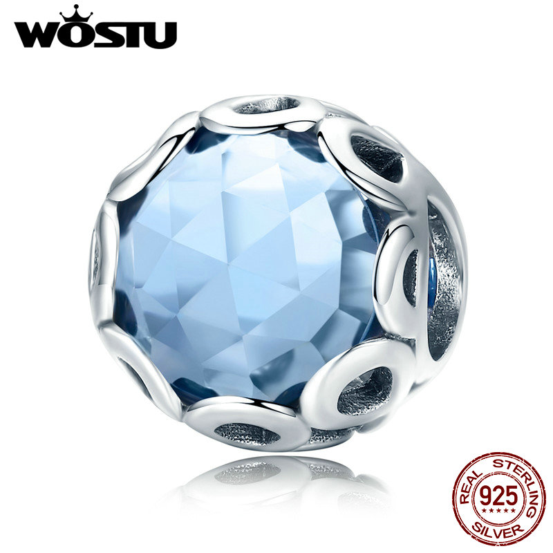 WOSTU Authentic 925 Sterling Silver Infinite Charm, Blue Crystal Beads Fit Original Brand Charm Bracelet DIY Jewelry Gift CQC755 authentic 925 sterling silver charm beads shadow petals compatible fit troll european brand diy bracelet jewelry gift for woman