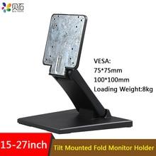 Suporte de mesa dobrável, suporte para mesa de 15  27 polegadas para monitor de inclinação montagem lcd tv com touch screen por exemplo,
