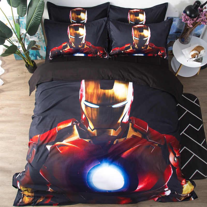 マーベルアイアンマン 3D 寝具セットアベンジャーズ布団カバートールキャプテンアメリカ布団寝具セット (なしシート)