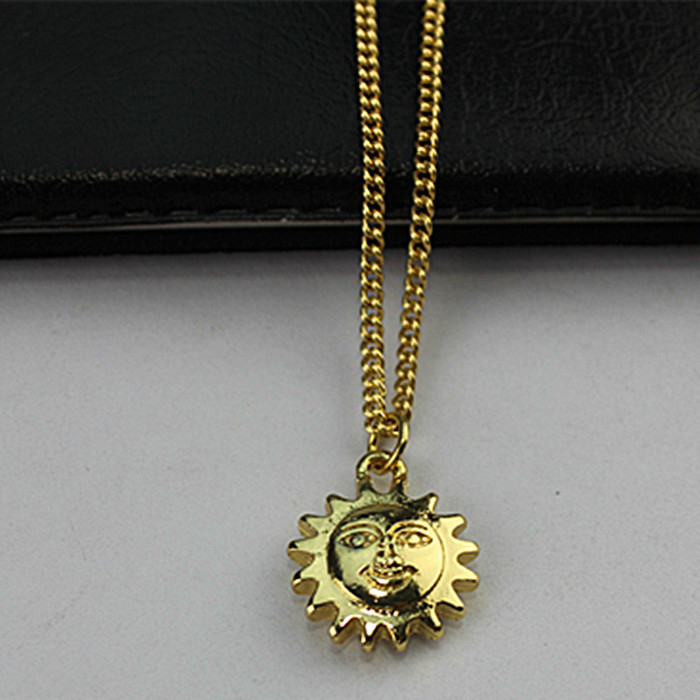 Popular romantic lovely smile sunny girl gift wholesale gold-plated pendant necklace! Free shipping!