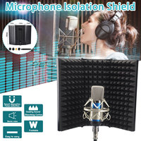 Foldable Adjustable Microphone Acoustic Isolation Shield Alloy Acoustic Foams Panel Studio Recording Microphone Accessories