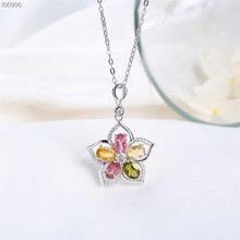 wholesale trendy 925 sterling silver natural colorful tourmaline necklace pendant for female wedding engagement