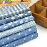Customized 145cm Width Blue Denim Jean Flower Chiffon Silk Cotton Gauze Cloth Fabric Shirt Coat Skirt