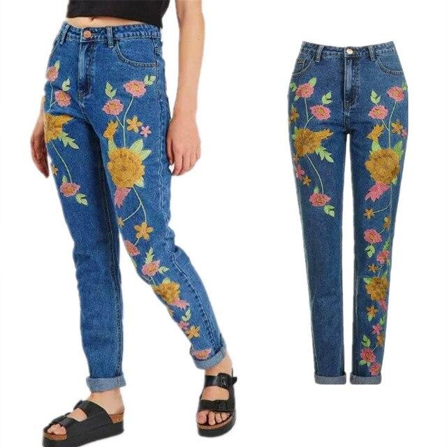 Джинсовые вышивка джинсы женщина топы 2017 весна высокая талия прямые джинсы женские Случайные синий boyfriend джинсы женские брюки p45