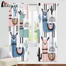 Miracille Cartoon Alpaca Window Curtain Room Darkening Printed Animal for Kids Bedroom Curtains Living Screen