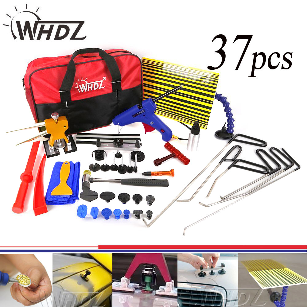 37pcs PDR Tools Set Dent Removal paintless Dent repair Tools Car Dent puller Reflector Board pdr auto body repair hand tool set pdr rods high quality auto parts repair tools set paintless dent repair hand tools pdr hooks car dent removal auto body tools