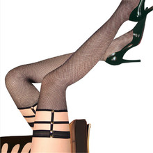 Sexy Over Knee Socks Lace Bandage Leg Ring Harness Cut Out Rivet Fishnet Net Thigh High Female Stockings Pantyhose For Women