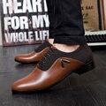 Marca de Venta Caliente de La Manera Cómoda de Cuero Hombres Zapatos Casuales, diseñador de la Marca de Lujo Zapatos de Los Hombres, Lace Up Zapatos de Los Planos de Los Hombres Zapatos