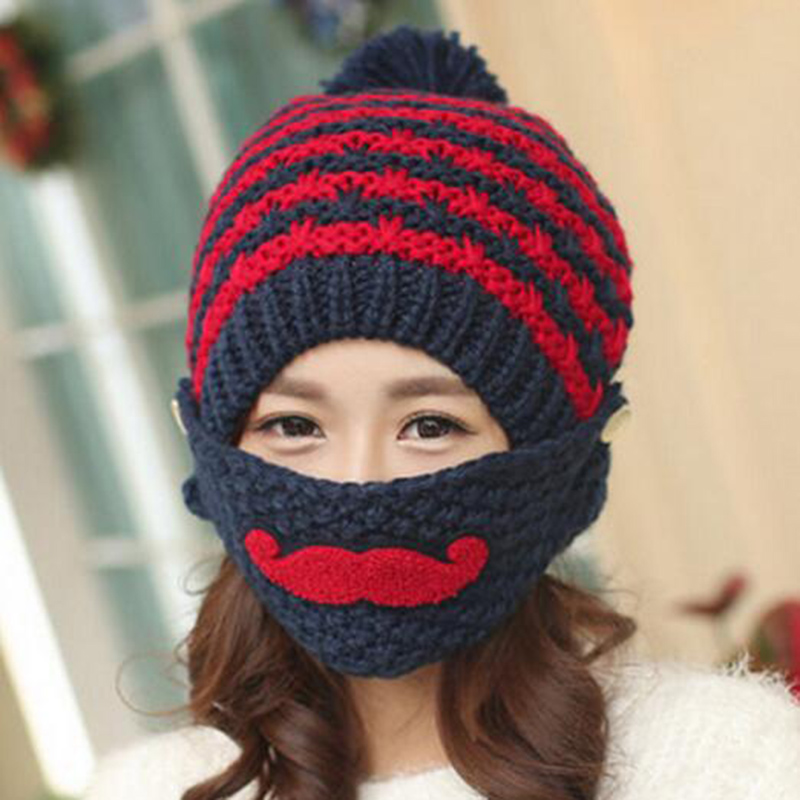 New!Winter Cute Warm Ear Face Mask Wool Hat Mouth Mask Beanies Knit Beard Pattern Cap Warm Winter Women Gifts Fashion Accessory et lax100 projector lamp compatible bulb with housing for panasonic pt ax100 ax100e pt ax100u pt ax200 ax200e pt ax20