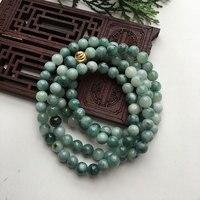 Natural yu bracelet or necklace 108 7mm floating blue flower men and women fashion yu beads/