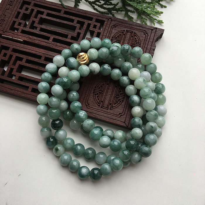 Naturel yu bracelet ou collier 108 7mm flottant fleur bleue hommes et femmes mode yu perles/