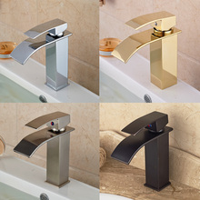 Chrome/Golden/ORB/Brushed Nickel Basin Sink Faucet Waterfall Brass Hot Cold Water Kitchen Mixer Taps One Hole