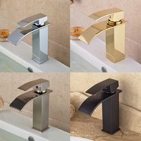 Chrome Golden ORB Brushed Nickel Basin Sink Faucet Waterfall Brass Hot Cold Water Kitchen Mixer Taps