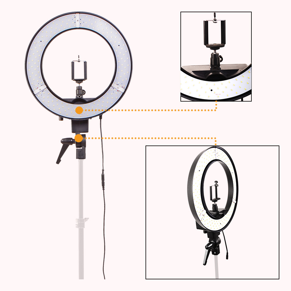 DIGITALFOTO 12 35W 240pcs LED Ring Light Youtube Makeup lamp barber shop 5500K Dimmable Warm/Cold Photo/Studio/Phone/Video