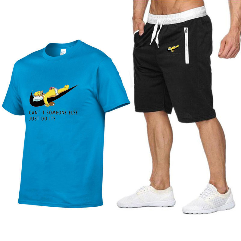 Quality Men's Sets T Shirts+shorts Men Brand Clothing Two Piece Suit Tracksuit Fashion Casual Tshirts Gyms Workout Fitness Sets