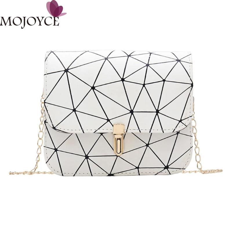 Ladies Fashion Small Flap White Geometric Print Shoulder Handbags Women Casual PU Leather Chain Crossbody Messenger Bag For Girl
