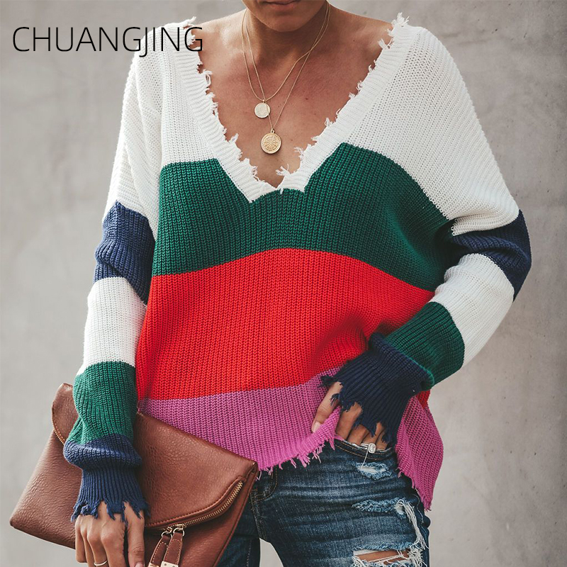 Sexy Autumn Winter Knitted Sweater Women Casual V-neck Striped Long Sleeve Plus Size Pullover Sweater New Ladies Fashion Sweater(China)