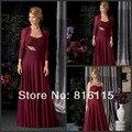 Катерина матери платья бургундия шифон свадебного вечера ну вечеринку с куртка с длинными рукавами мать невесты платье HMD9
