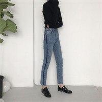 Hunter Wish 2017 New Spring Autumn Fashion Pencil Jeans Woman Blue Colored High Waist Zipper Slim