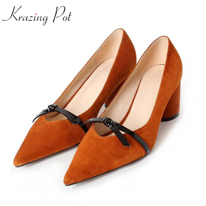 Krazing pot summer kid suede bowtie solid round high heels shallow pumps pointed toe fairy sexy party wedding brand shoes L01 krazing pot kid suede zip breathable
