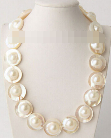 FREE SHIPPING>@@> N3810 AAA 17.5 23mm South Sea white Mabe Pearls necklace pearl clasp