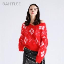 BAHTLEE, зимний женский вязаный пуловер из ангоры, свитер с v-образным вырезом, норка, кашемир, жаккард, сохраняет тепло, плотный