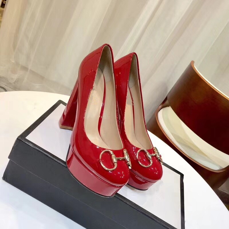 2018 Fashion Spring Elegant Ladies Round Toe High Square Heels Slip On 3cm Platform Shoes Women Solid Color Shallow Red Pumps gold chain party 2017 spring summer casual shallow slip on square toe bling square heels women pumps free ship mujer pantufa