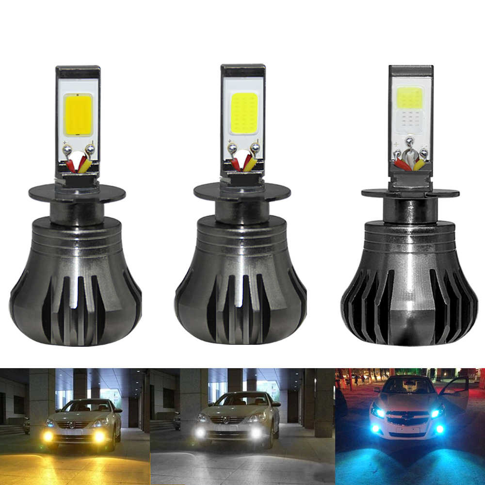 Auto LED H3 Font Fog Lights LED Car 3000K 6000K 8000K Yellow White ice Blue Color COB Chip Switch Strobe Lamp Model